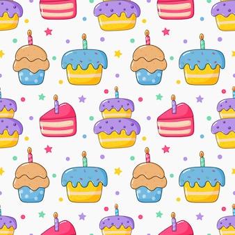 Modelo inconsútil divertido lindo de la torta de cumpleaños del kawaii. fiesta de comida