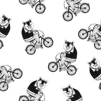 Modelo inconsútil divertido con el oso pardo de dibujos animados lindo vestido con camisa oscura en bicicleta sobre fondo blanco. dibujado a mano ilustración en estilo retro para papel tapiz, impresión de tela, papel de regalo.