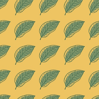 Modelo inconsútil del doodle del ornamento del follaje verde.