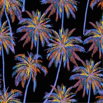 Modelo inconsútil hermoso de la isla en fondo negro. paisaje con palmeras de colores neón.