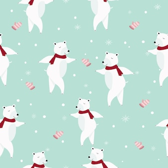 Modelo inconsútil de la historieta linda del oso polar.