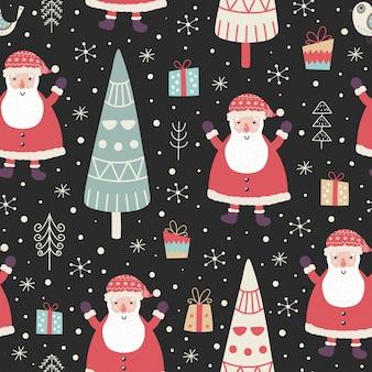 Modelo inconsútil del invierno con un papá noel lindo, árboles de navidad, regalos y copos de nieve.