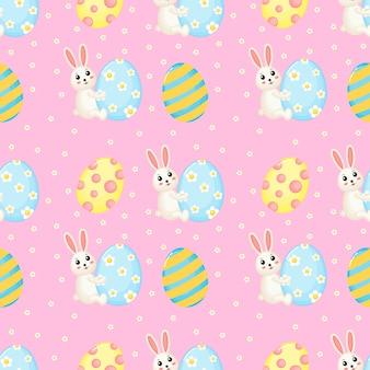 Modelo inconsútil lindo feliz de pascua de conejos encantadores. conejito y huevo.