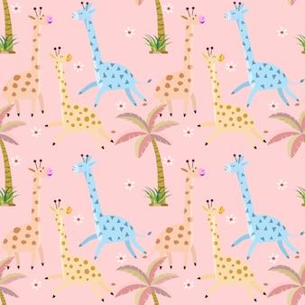 Modelo inconsútil lindo de la jirafa y de la palmera.