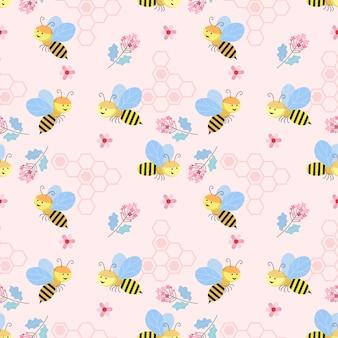 Modelo inconsútil lindo con el papel pintado de la textura del fondo de la abeja y de las flores.