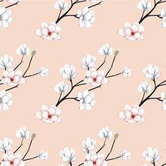 El modelo inconsútil magnolia florece el fondo.