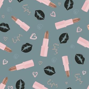 Modelo inconsútil de la moda glamorosa con lápiz labial y besos. patrón transparente cosmético en colores de moda modernos. diseño de belleza, publicidad, san valentín. ilustración vectorial