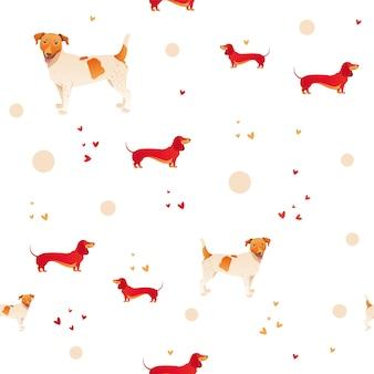 Modelo inconsútil moderno simple con el perro y la hierba rojos.