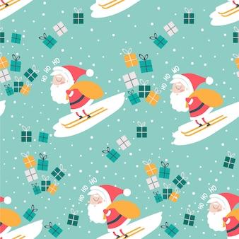 Modelo inconsútil de la navidad con el fondo del azul de papá noel y de los regalos.