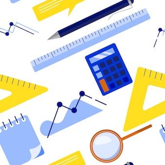 Modelo inconsútil del negocio plano de la endecha con la libreta, calculadora, regla, vidrio de la lupa, bolígrafo, tabla, gráfico. ilustración vectorial plana