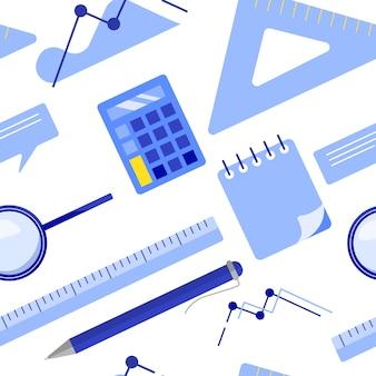 Modelo inconsútil del negocio plano de la endecha con la libreta, calculadora, regla, vidrio de la lupa, bolígrafo, tabla, gráfico.