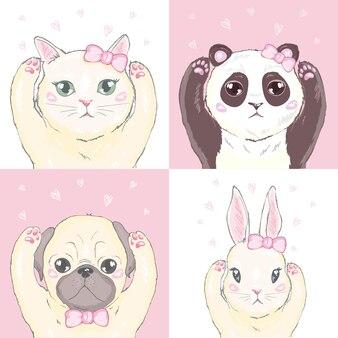 Modelo inconsútil de niña divertido con lindo gatito, perro, conejo, caras.