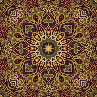 Modelo inconsútil del ornamento oriental colorido de los mandalas.