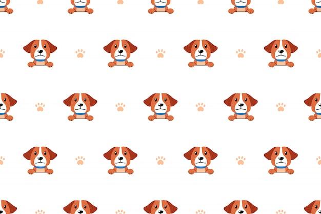 Modelo inconsútil del perro lindo del personaje de dibujos animados del vector