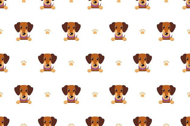 Modelo inconsútil del perro del perro salchicha marrón del personaje de dibujos animados del vector