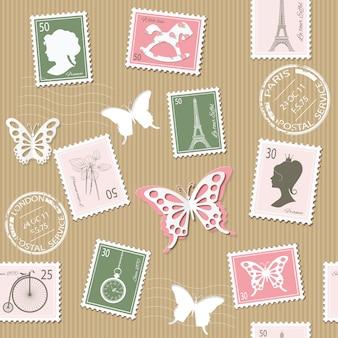 Modelo inconsútil postal de la vendimia con los sellos retros.