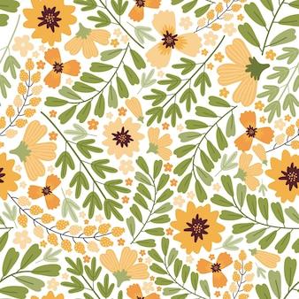 Modelo inconsútil del prado floreciente del verano. repetición de fondo de flores densas. muchas flores amarillas, brotes, hojas, tallos en el campo. liberty millefleurs. arte floral de estilo escandinavo