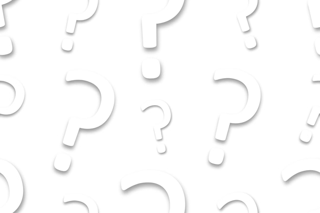 Modelo inconsútil de la pregunta de papel aislada realista para la decoración de la invitación. concepto de concurso y trivia.