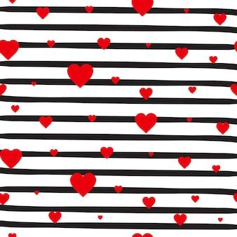 Modelo inconsútil retro corazones rojos sobre fondo blanco rayas adorno del día de san valentín