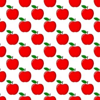 Modelo inconsútil rojo de apple y rebanadas. verano de frutas