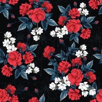 El modelo inconsútil rojo rose, magnolia y lilly florece el fondo.