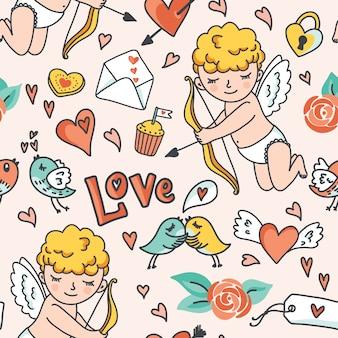 Modelo inconsútil romántico. cupido lindo, pájaros, sobres, corazones y otros elementos de diseño. ilustración