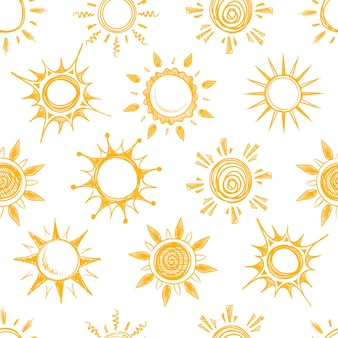 Modelo inconsútil del sol amarillo divertido del verano. fondo con dibujo de sol, ilustración de sol caliente natural de dibujos animados