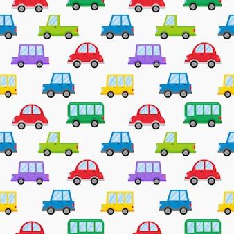 Modelo inconsútil del transporte colorido estilo de dibujos animados lindo coche aislado en blanco