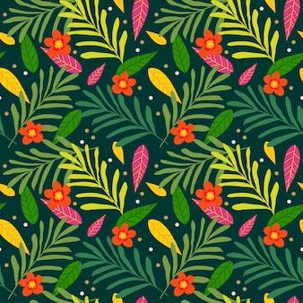 Modelo inconsútil tropical exótico con las hojas de palma y las flores coloridas.