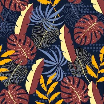Modelo inconsútil tropical con hojas tropicales y abstracción