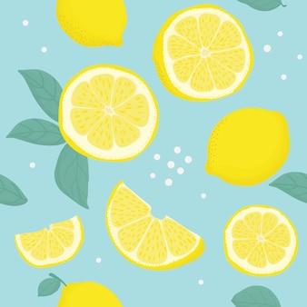 Modelo inconsútil tropical con limones amarillos.