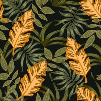 Modelo inconsútil tropical con plantas verdes y hojas