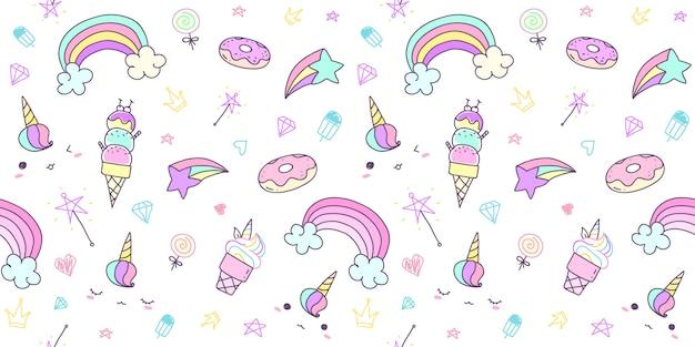 Modelo inconsútil con unicornio dibujado mano en color en colores pastel.