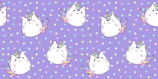 Modelo inconsútil con unicornio lindo en la estrella en color púrpura.