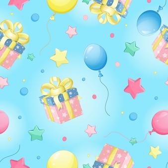 Modelo inconsútil del vector para el cumpleaños. caja de regalo, globo, estrella.