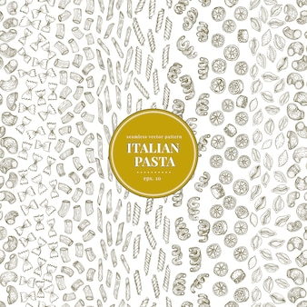 Modelo inconsútil del vector con diferentes tipos de pasta italiana tradicional.