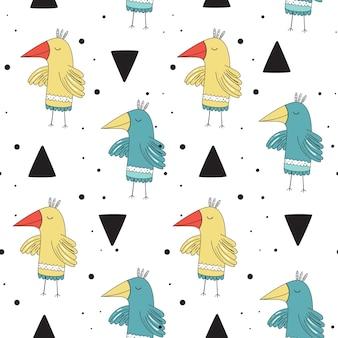 Modelo inconsútil del vector en estilo escandinavo. pájaros preciosos