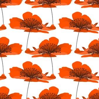Modelo inconsútil del vector de la flor de la amapola.