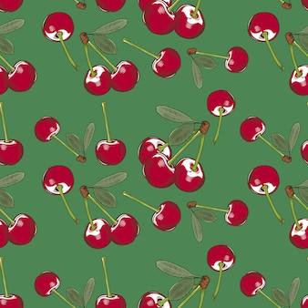 Modelo inconsútil de la vendimia con las cerezas en un fondo verde. ilustración coloreada