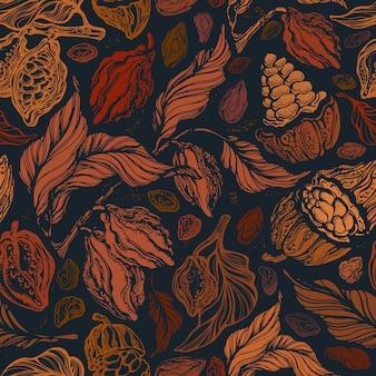 Modelo inconsútil de la vendimia. textura de jardín de otoño. impresión gráfica dibujada a mano.