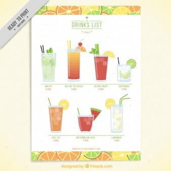 Modelo de lista de bebidas frutales