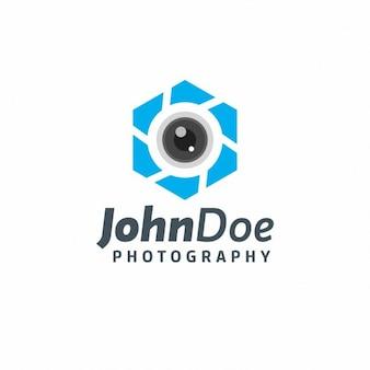 Modelo de logo azul de fotografía