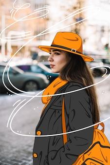 Modelo de moda con atuendo casual