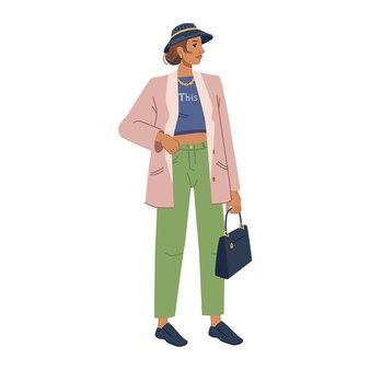 Modelo de moda de mujer en ropa de abrigo elegante colección otoño primavera personaje de dibujos animados plano aislado