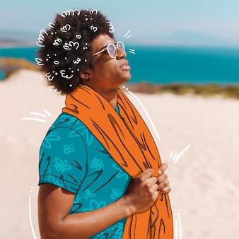 Modelo de moda con traje de verano