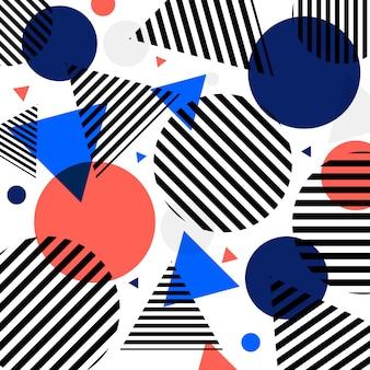 Modelo moderno abstracto de los círculos y de los triángulos de la moda con las líneas negras diagonalmente en el fondo blanco.