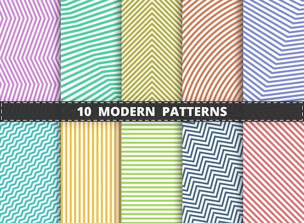 El modelo moderno abstracto de la línea colorida de la raya fijó el fondo. decoración para envolver, anuncio, cartel, diseño de arte.