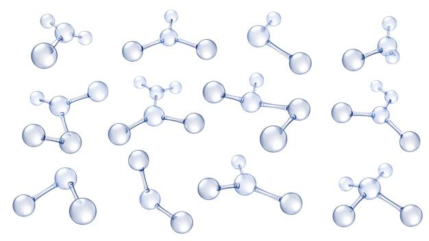Modelo de molécula. conjunto de modelos de moléculas de ácido hialurónico, estructura molecular orgánica de ciencia química y moléculas reflectantes