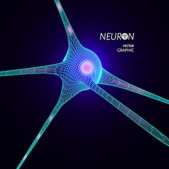 Modelo de neurona 3d. elemento de diseño gráfico para publicación científica.
