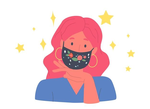 Modelo personaje femenino vestido con máscaras protectoras elegantes con bordado floral o estampado. chica presenta un traje de protección de moda durante el brote de covid. ilustración de vector de gente de dibujos animados